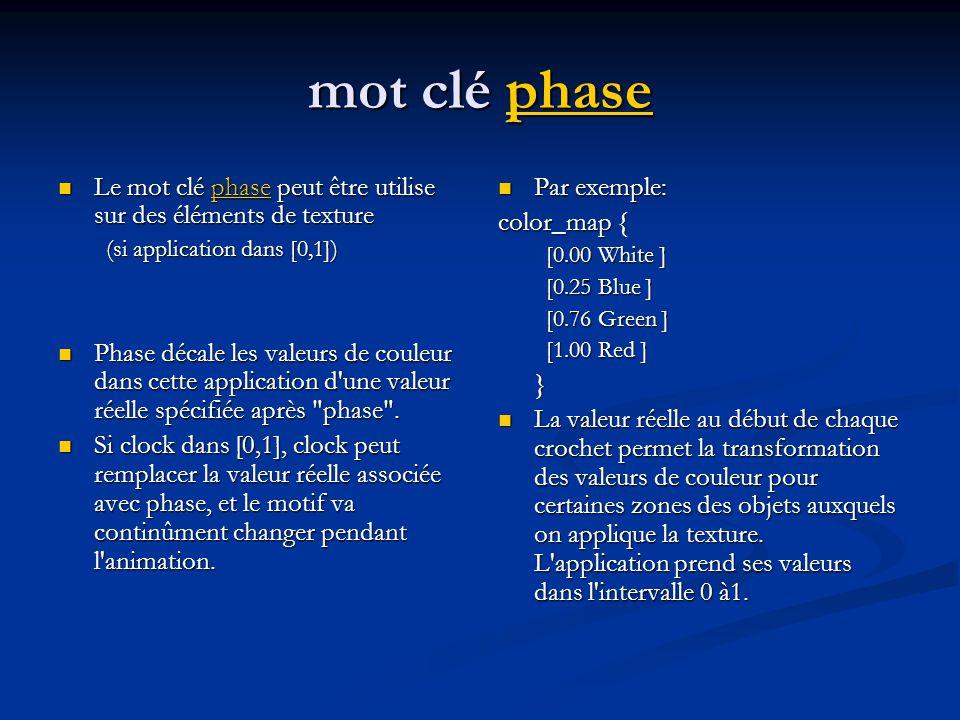 mot clé phase Le mot clé phase peut être utilise sur des éléments de texture. (si application dans [0,1])